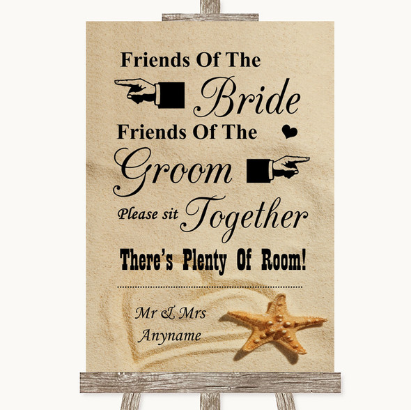 Sandy Beach Friends Of The Bride Groom Seating Personalised Wedding Sign