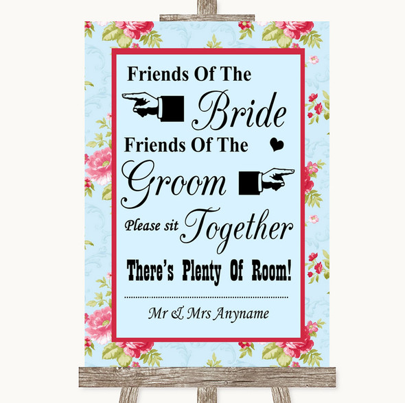 Shabby Chic Floral Friends Of The Bride Groom Seating Personalised Wedding Sign