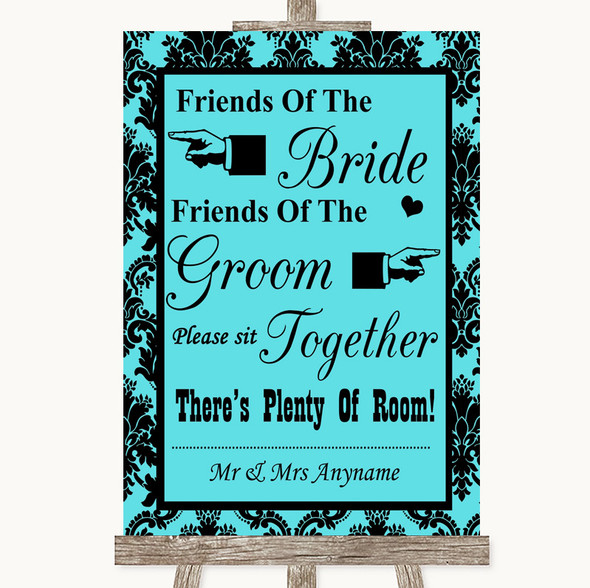 Tiffany Blue Damask Friends Of The Bride Groom Seating Personalised Wedding Sign