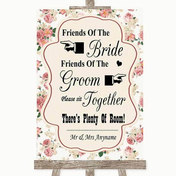 Vintage Roses Friends Of The Bride Groom Seating Personalised Wedding Sign