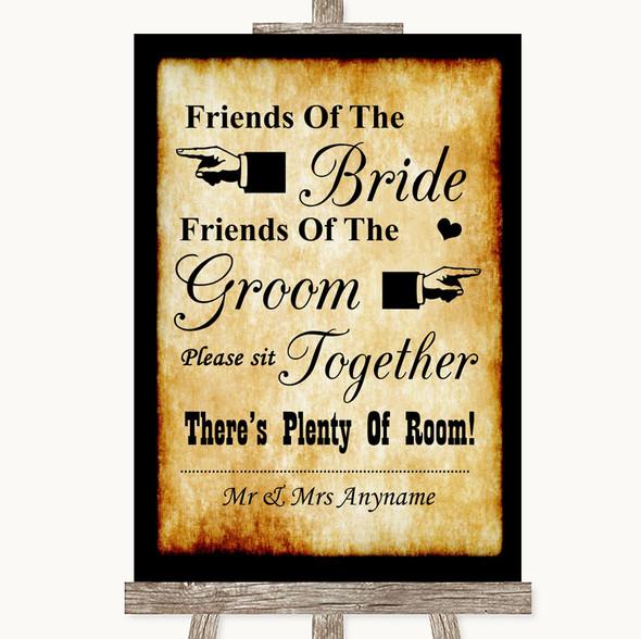 Western Friends Of The Bride Groom Seating Personalised Wedding Sign