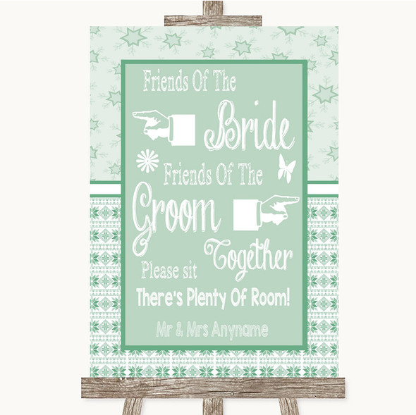 Winter Green Friends Of The Bride Groom Seating Personalised Wedding Sign