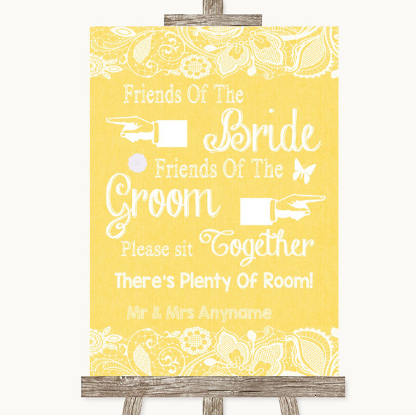 Yellow Burlap & Lace Friends Of The Bride Groom Seating Wedding Sign