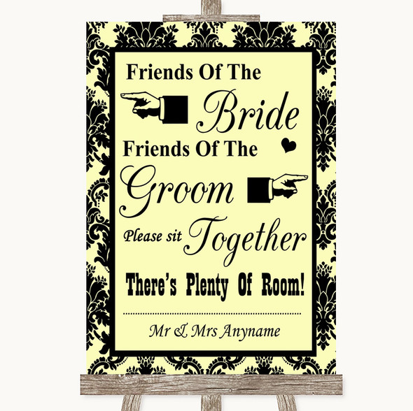 Yellow Damask Friends Of The Bride Groom Seating Personalised Wedding Sign