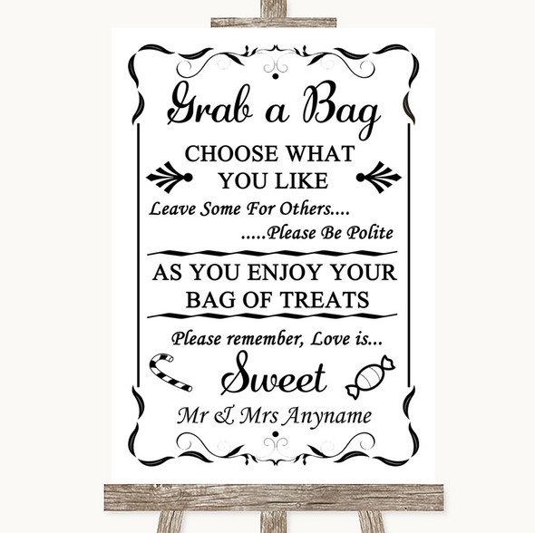 Black & White Grab A Bag Candy Buffet Cart Sweets Personalised Wedding Sign