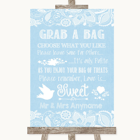 Blue Burlap & Lace Grab A Bag Candy Buffet Cart Sweets Personalised Wedding Sign