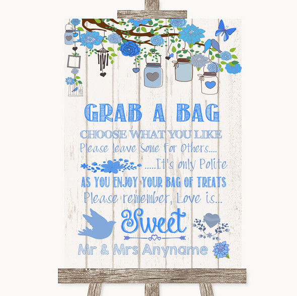 Blue Rustic Wood Grab A Bag Candy Buffet Cart Sweets Personalised Wedding Sign
