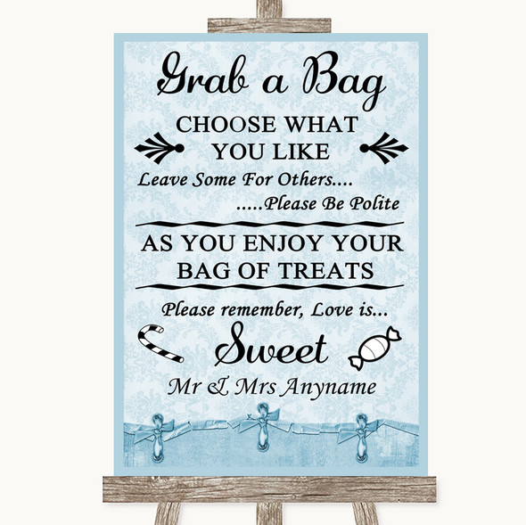 Blue Shabby Chic Grab A Bag Candy Buffet Cart Sweets Personalised Wedding Sign