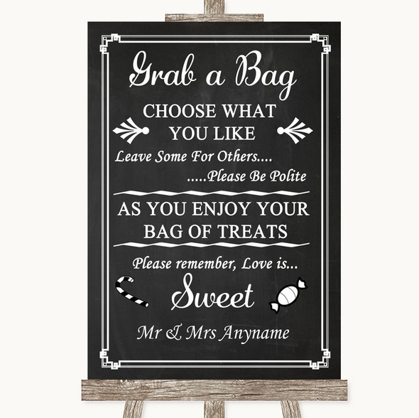Chalk Style Grab A Bag Candy Buffet Cart Sweets Personalised Wedding Sign