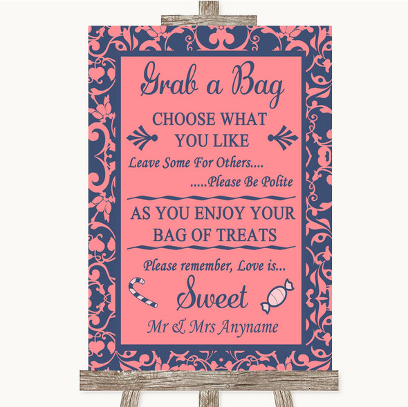 Coral Pink & Blue Grab A Bag Candy Buffet Cart Sweets Personalised Wedding Sign