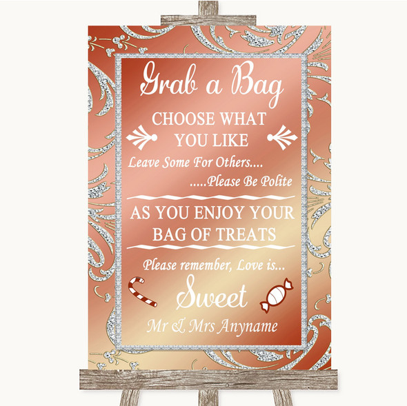 Coral Pink Grab A Bag Candy Buffet Cart Sweets Personalised Wedding Sign