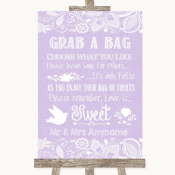 Lilac Burlap & Lace Grab A Bag Candy Buffet Cart Sweets Wedding Sign