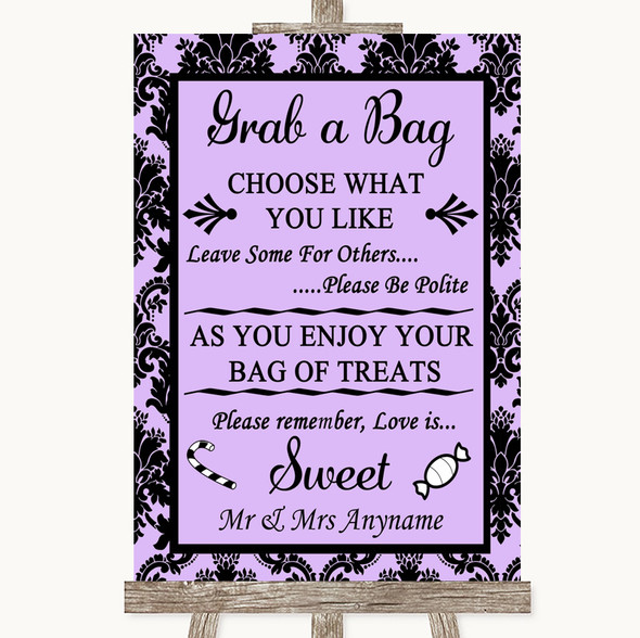 Lilac Damask Grab A Bag Candy Buffet Cart Sweets Personalised Wedding Sign