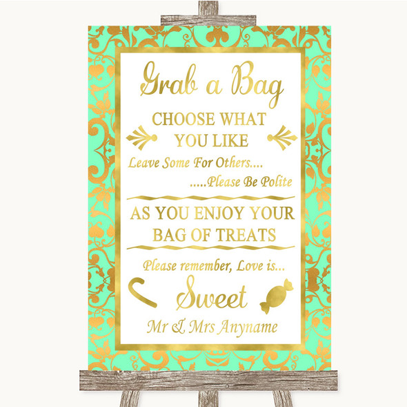 Mint Green & Gold Grab A Bag Candy Buffet Cart Sweets Personalised Wedding Sign
