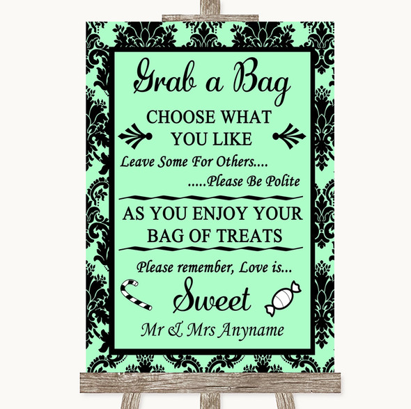 Mint Green Damask Grab A Bag Candy Buffet Cart Sweets Personalised Wedding Sign