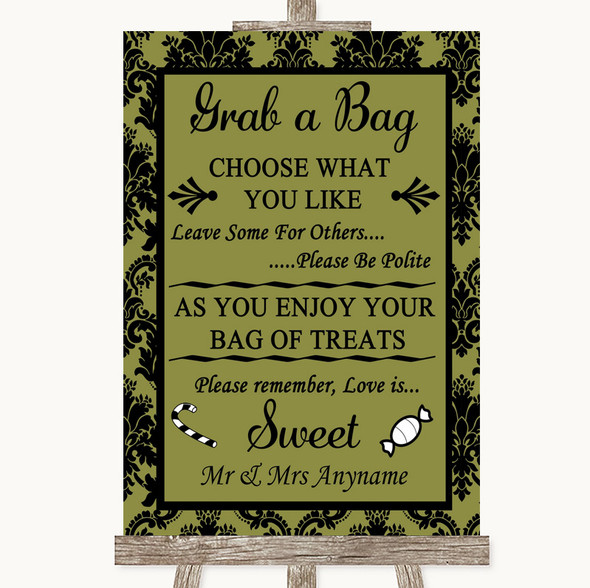 Olive Green Damask Grab A Bag Candy Buffet Cart Sweets Personalised Wedding Sign