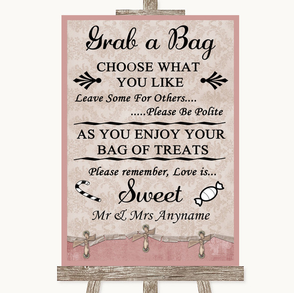 Pink Shabby Chic Grab A Bag Candy Buffet Cart Sweets Personalised Wedding Sign