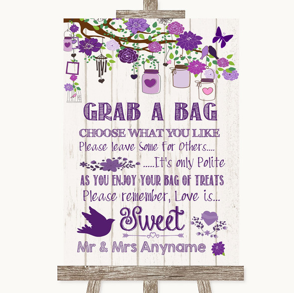Purple Rustic Wood Grab A Bag Candy Buffet Cart Sweets Personalised Wedding Sign