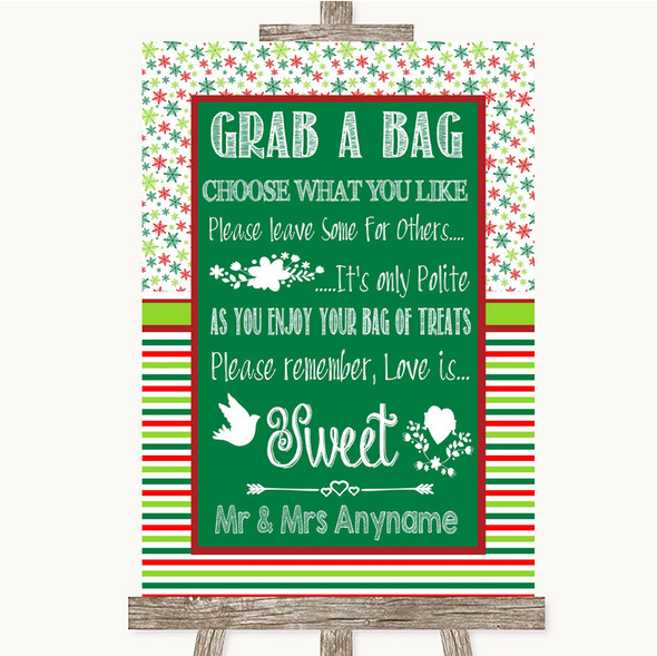 Red & Green Winter Grab A Bag Candy Buffet Cart Sweets Personalised Wedding Sign