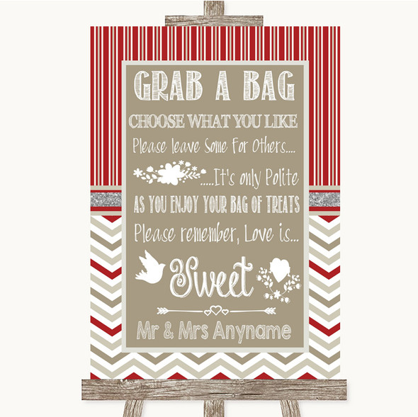 Red & Grey Winter Grab A Bag Candy Buffet Cart Sweets Personalised Wedding Sign