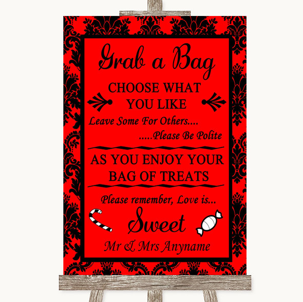 Red Damask Grab A Bag Candy Buffet Cart Sweets Personalised Wedding Sign