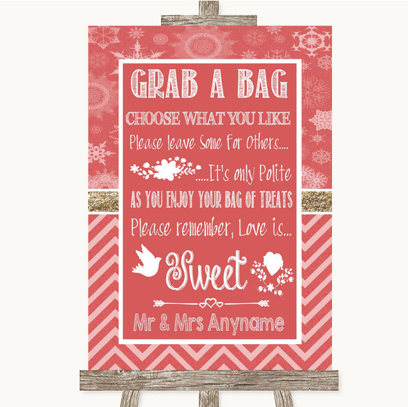 Red Winter Grab A Bag Candy Buffet Cart Sweets Personalised Wedding Sign