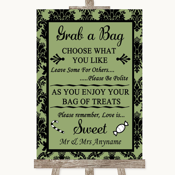 Sage Green Damask Grab A Bag Candy Buffet Cart Sweets Personalised Wedding Sign