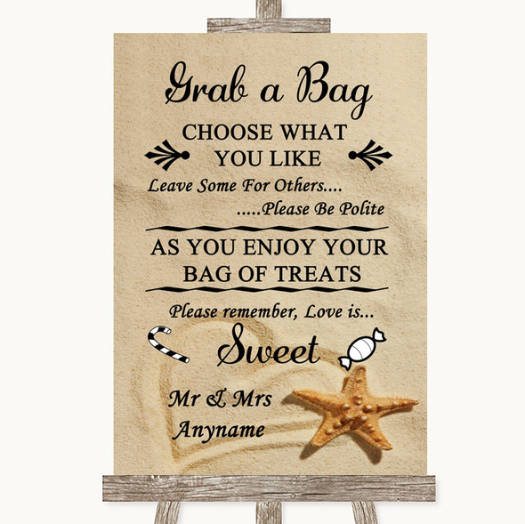 Sandy Beach Grab A Bag Candy Buffet Cart Sweets Personalised Wedding Sign