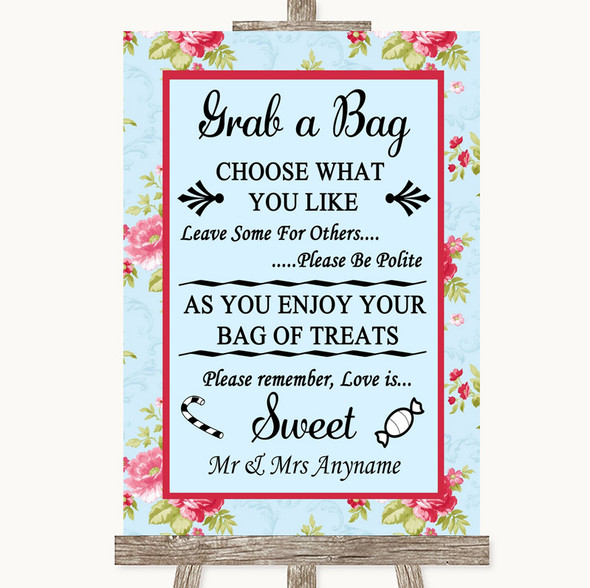 Shabby Chic Floral Grab A Bag Candy Buffet Cart Sweets Personalised Wedding Sign