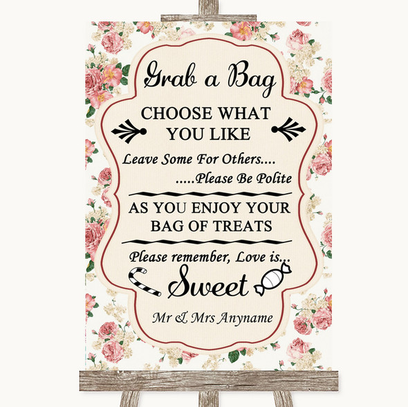 Vintage Roses Grab A Bag Candy Buffet Cart Sweets Personalised Wedding Sign