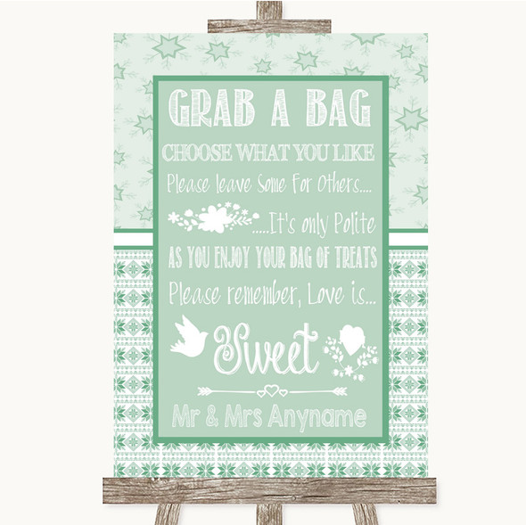 Winter Green Grab A Bag Candy Buffet Cart Sweets Personalised Wedding Sign