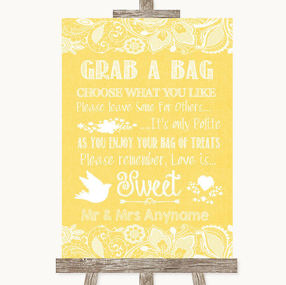Yellow Burlap & Lace Grab A Bag Candy Buffet Cart Sweets Wedding Sign