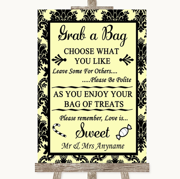 Yellow Damask Grab A Bag Candy Buffet Cart Sweets Personalised Wedding Sign