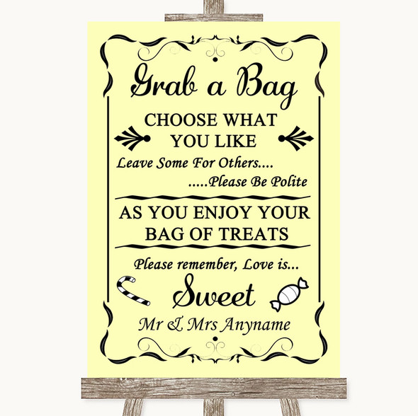 Yellow Grab A Bag Candy Buffet Cart Sweets Personalised Wedding Sign
