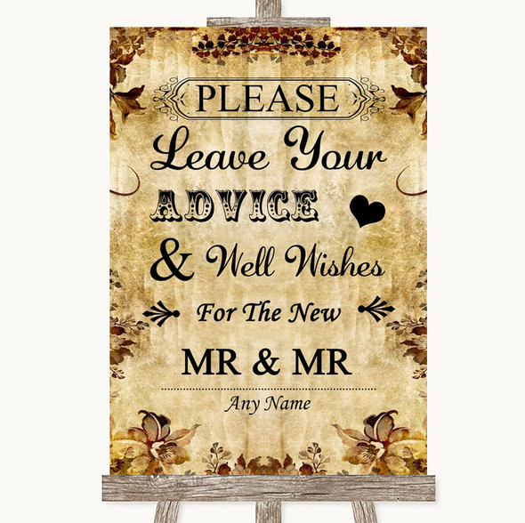 Autumn Vintage Guestbook Advice & Wishes Gay Personalised Wedding Sign