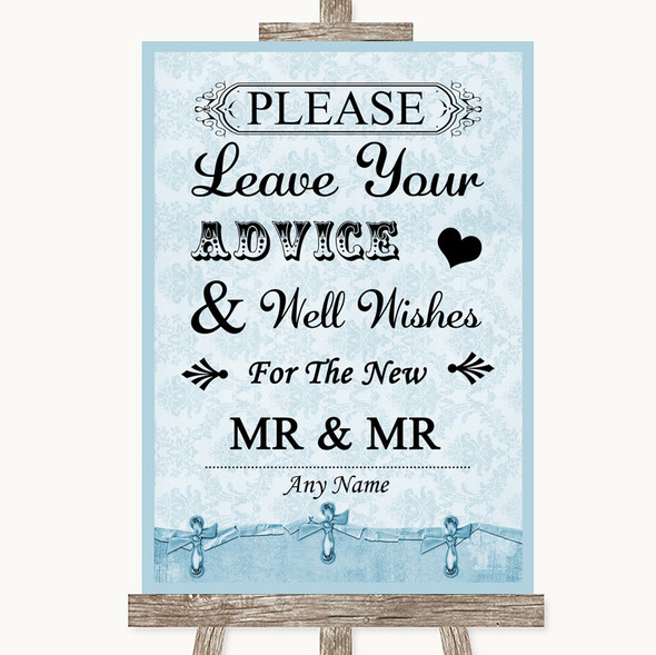 Blue Shabby Chic Guestbook Advice & Wishes Gay Personalised Wedding Sign