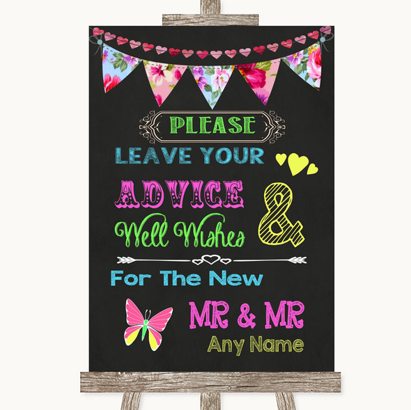 Bright Bunting Chalk Guestbook Advice & Wishes Gay Personalised Wedding Sign