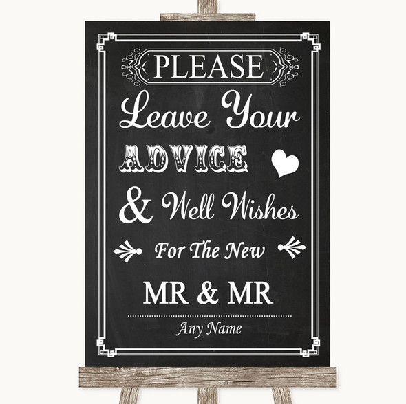 Chalk Style Guestbook Advice & Wishes Gay Personalised Wedding Sign