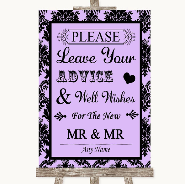 Lilac Damask Guestbook Advice & Wishes Gay Personalised Wedding Sign