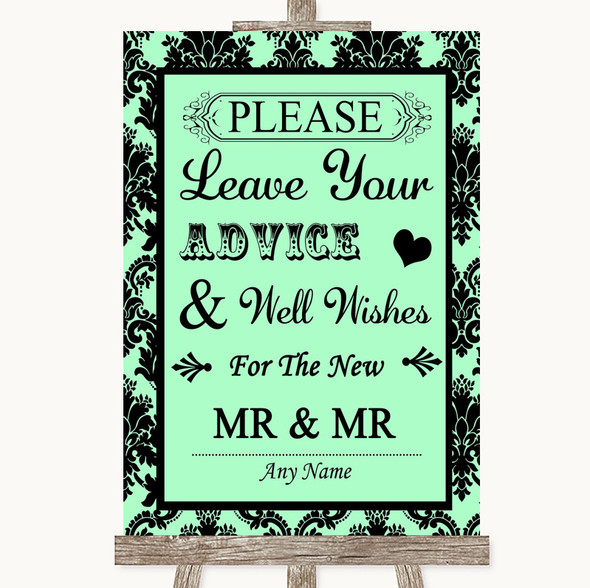 Mint Green Damask Guestbook Advice & Wishes Gay Personalised Wedding Sign