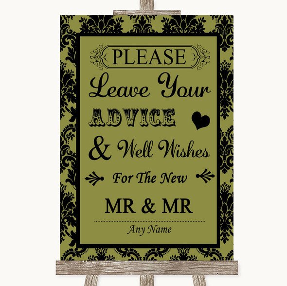 Olive Green Damask Guestbook Advice & Wishes Gay Personalised Wedding Sign