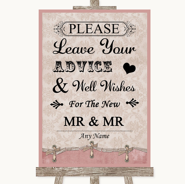Pink Shabby Chic Guestbook Advice & Wishes Gay Personalised Wedding Sign