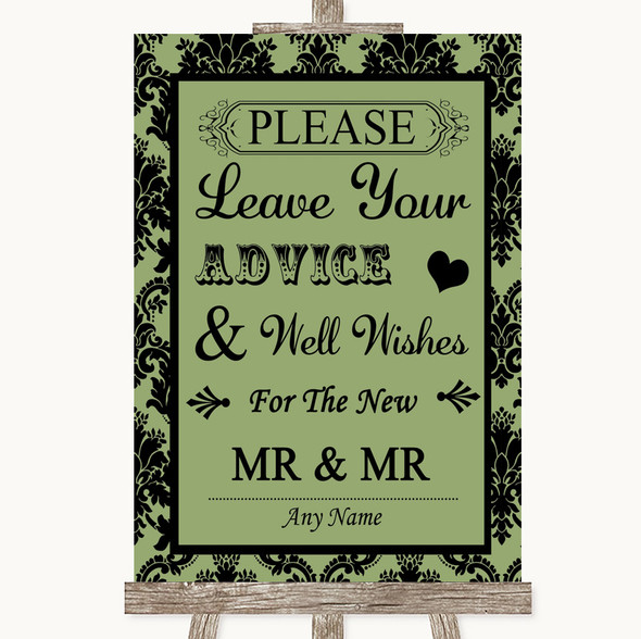 Sage Green Damask Guestbook Advice & Wishes Gay Personalised Wedding Sign