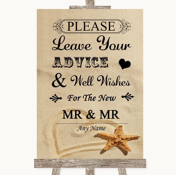 Sandy Beach Guestbook Advice & Wishes Gay Personalised Wedding Sign