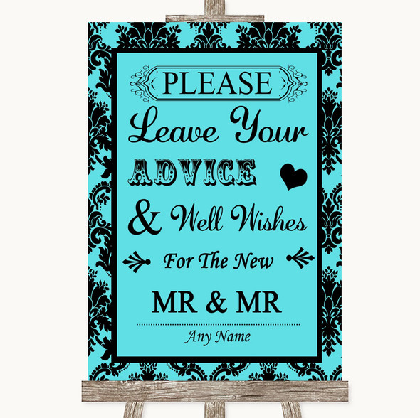 Tiffany Blue Damask Guestbook Advice & Wishes Gay Personalised Wedding Sign