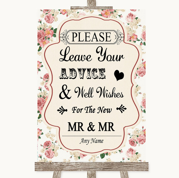 Vintage Roses Guestbook Advice & Wishes Gay Personalised Wedding Sign