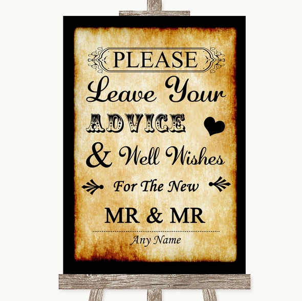 Western Guestbook Advice & Wishes Gay Personalised Wedding Sign