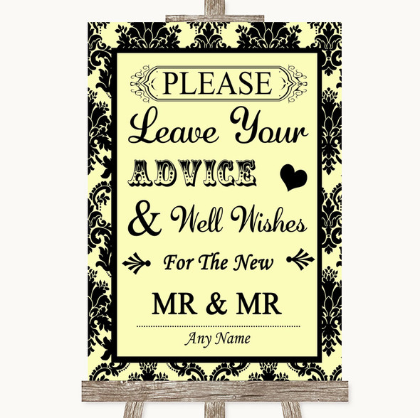 Yellow Damask Guestbook Advice & Wishes Gay Personalised Wedding Sign