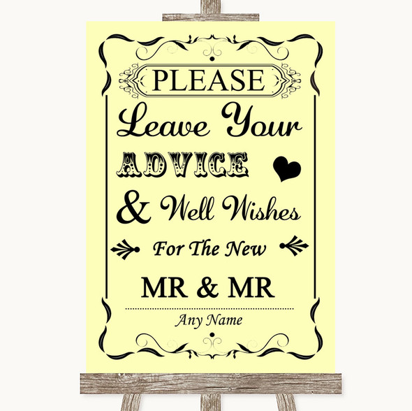 Yellow Guestbook Advice & Wishes Gay Personalised Wedding Sign