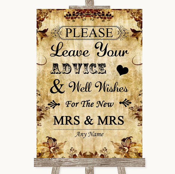 Autumn Vintage Guestbook Advice & Wishes Lesbian Personalised Wedding Sign